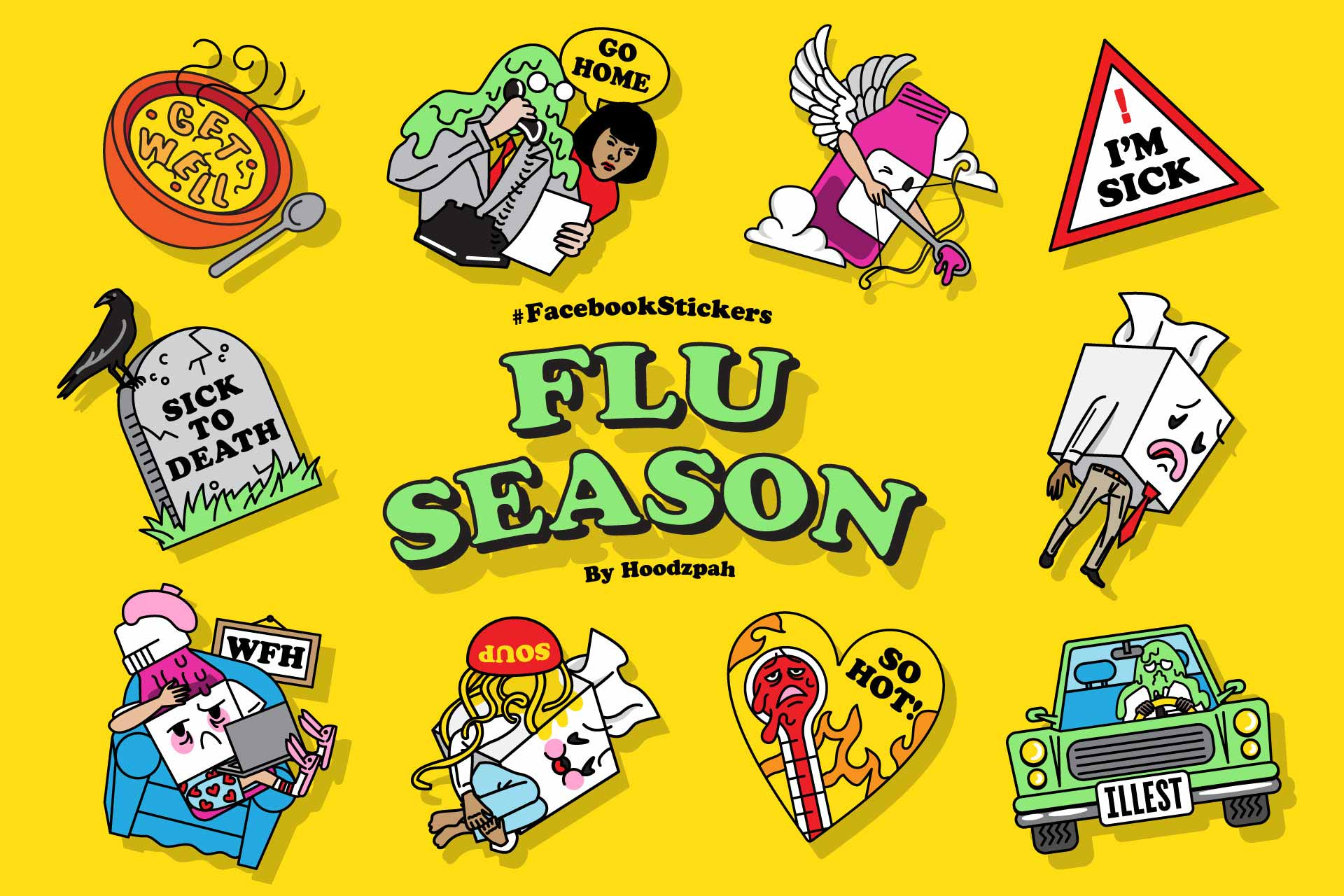 Facebook Flu Season Sticker Set Design by Hoodzpah