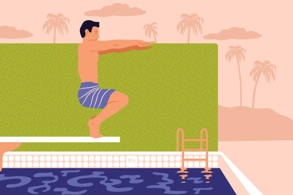 BYI illustration of guy doing pose on diving board by Hoodzpah