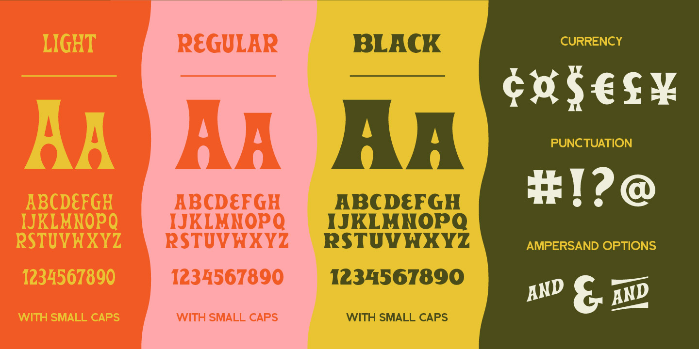 Beale font weights poster featuring: Light, Black, Regular