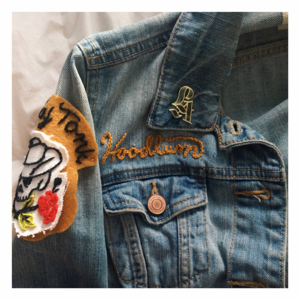 LA Enamel Pin on Jean Jacket