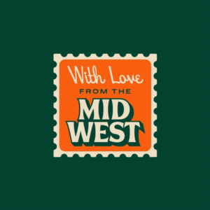 With Love from the Midwest stamp illustration featuring Beale and Beverly Drive fonts by joehcreative