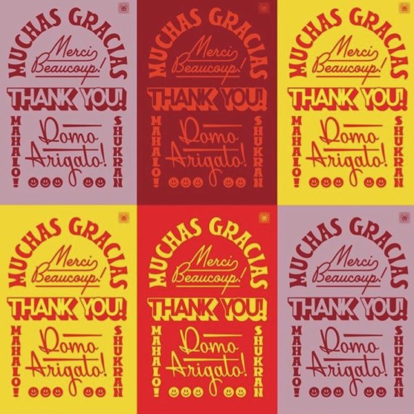 Thank you in five languages on colorful post cards