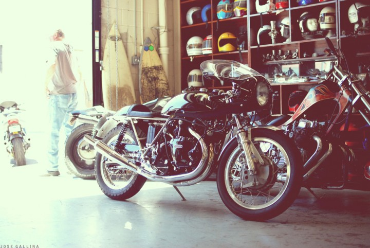 photograph of motorcycles in a garage