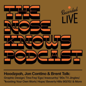 Flyer by Amy Hood for The Nose Knows w/ Jon Contino featuring Lone Pine Font by Hoodzpah
