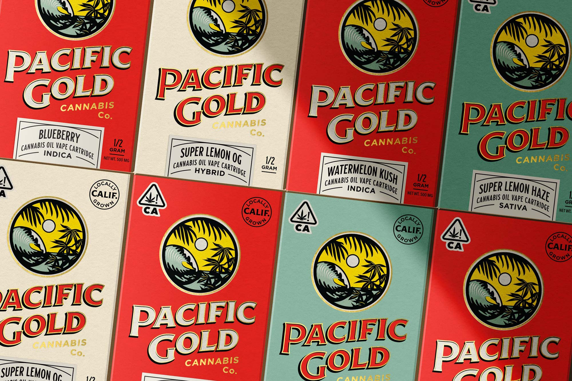 3 pacific Gold packaging all strains, color grouped by Hypbrid, sativa, indica